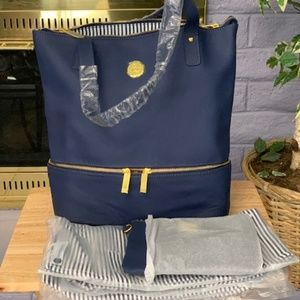 Four Piece Navy Leather Tote Set